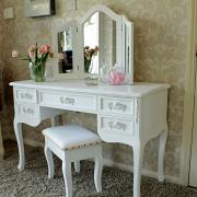 Pays Blanc Range - Antique White Dressing Table Desk with Triple Mirror