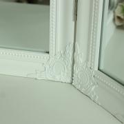 White Ornate Dressing Table Triple Mirror
