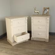 Lyon Range - Furniture Bundle, Pair of Cream Three Drawer Bedside Table