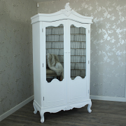 Pays Blanc Range - Antique White Mirrored Double Wardrobe