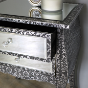 Silver Embossed Mirrored 2 Drawer Bedside Table - Monique Range