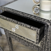 Pair of Silver Embossed Mirrored 2 Drawer Bedside Lamp Tables - Monique Range
