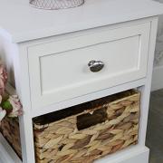 Cream Wood & Wicker Vintage Style Basket Storage Unit - Hereford Cream Range