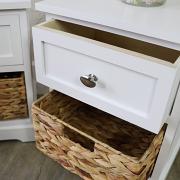 White Wood & Wicker Vintage Style Basket Storage Unit - Salford White Range