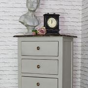 Tall Vintage Grey Tallboy Chest of Drawers - Leadbury Range