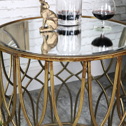 Ornate Antique Gold Mirrored Side Table - Vintage Mirrored Furniture