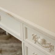 Pays Blanc Range - Antique White Large 5 Drawer Dressing Table/Writing Desk