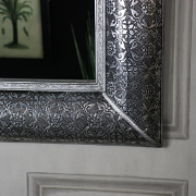 Large Silver Embossed Wall Mirror - Monique Range 102cm x 80cm