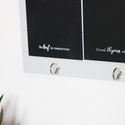 Grey Wooden Memo Board with Hooks