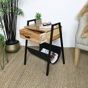 Industrial Side Table with Magazine Rack