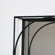 Black Framed Mirrored Shelf - Large
