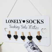 Lonely Sock Peg Wall Plaque