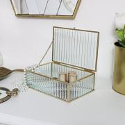 Gold Glass Mirrored Jewellery Box