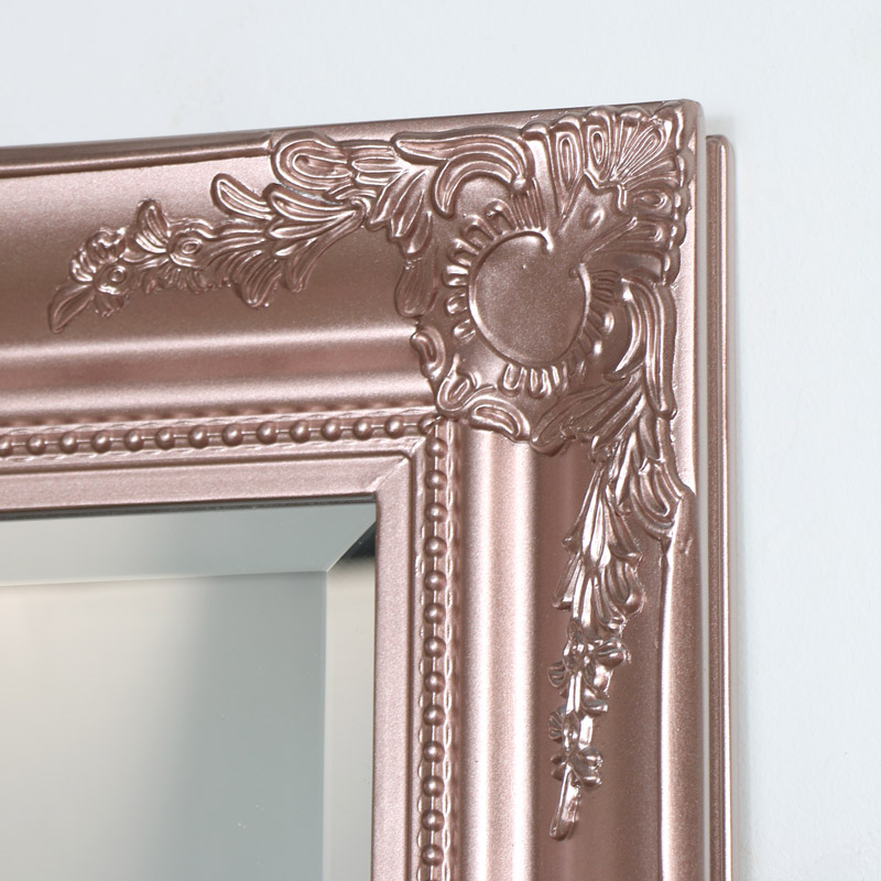 Tall Rose Gold Pink Wall Mirror vintage copper shabby chic bedroom bathroom