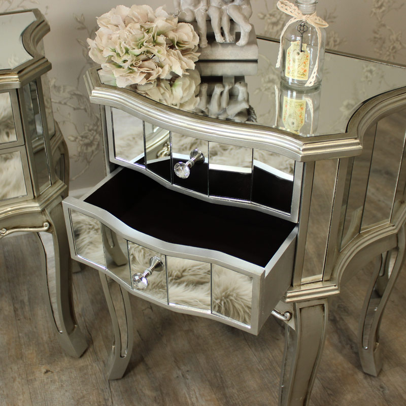 Pair Of Mirrored 2 Drawer Bedside Tables Flora Furniture