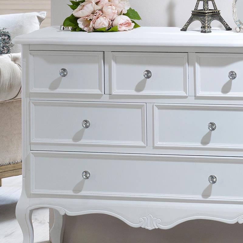 6 Drawer Chest Elise White Range Flora Furniture