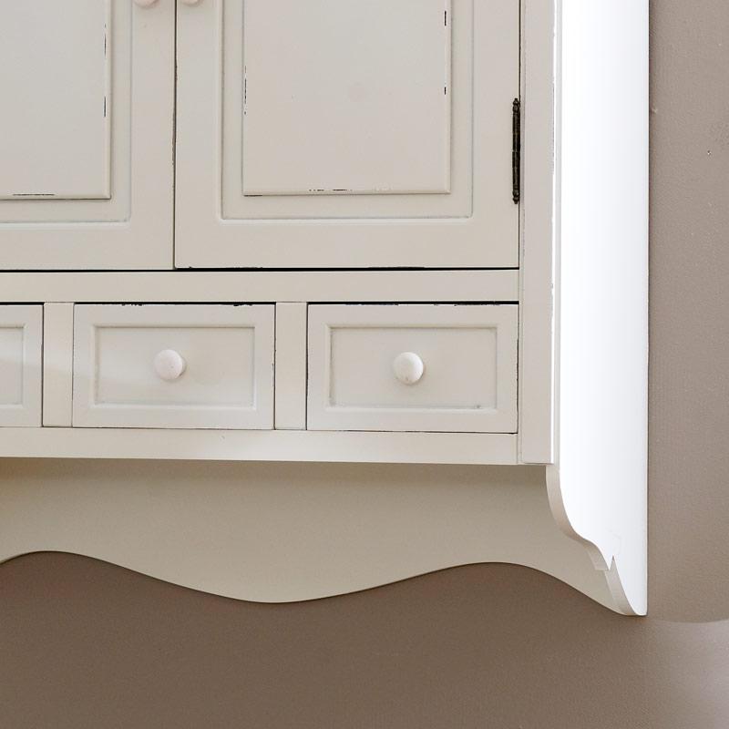 Lyon Range, Cream Wall Mounted Cupboard With Drawers