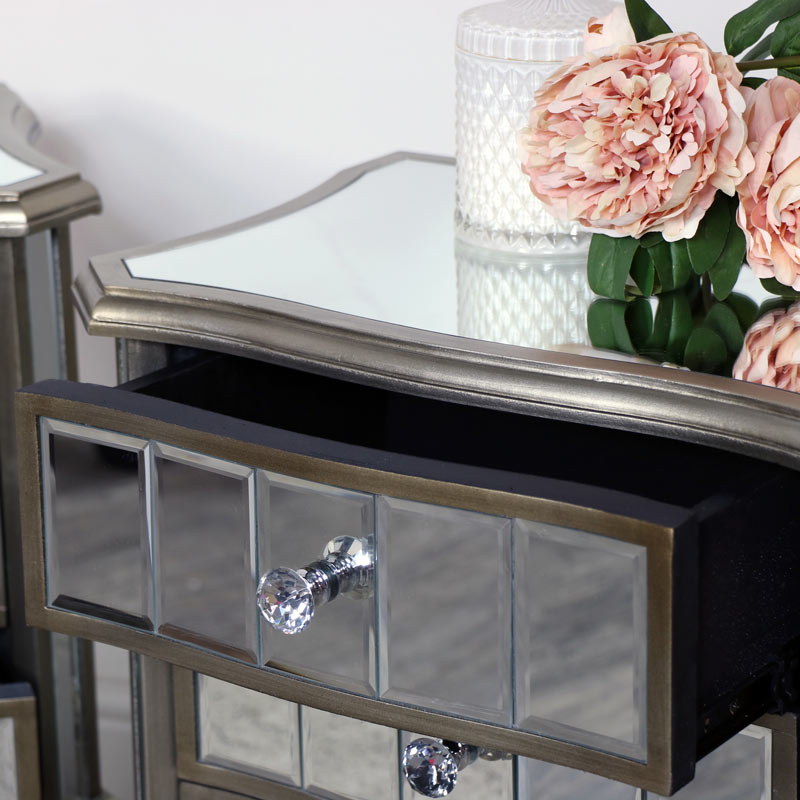Pair Of Mirrored Bedside Tables Tiffany Range Flora