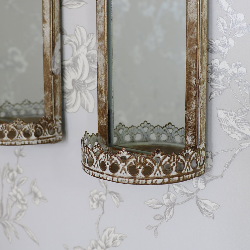 Set Of 2 Vintage Wall Hanging Mirrors With Shelf Flora