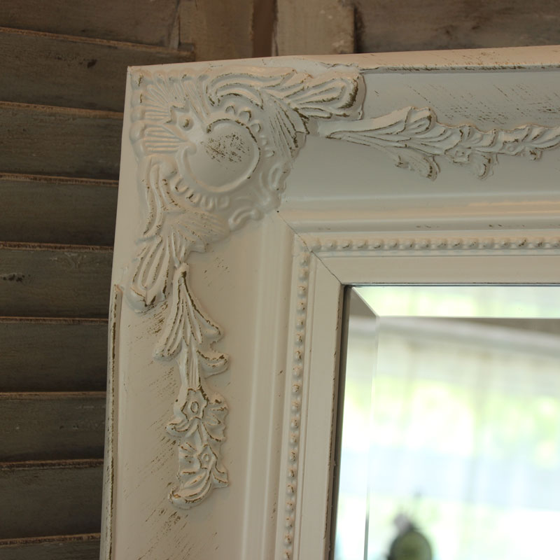 Extra Large Vintage White Wall Mirror Flora Furniture