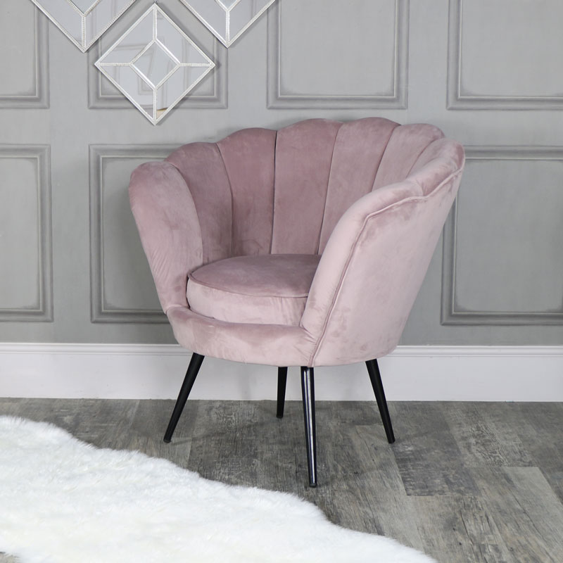 Dusky Pink Velvet Chair Flora Furniture