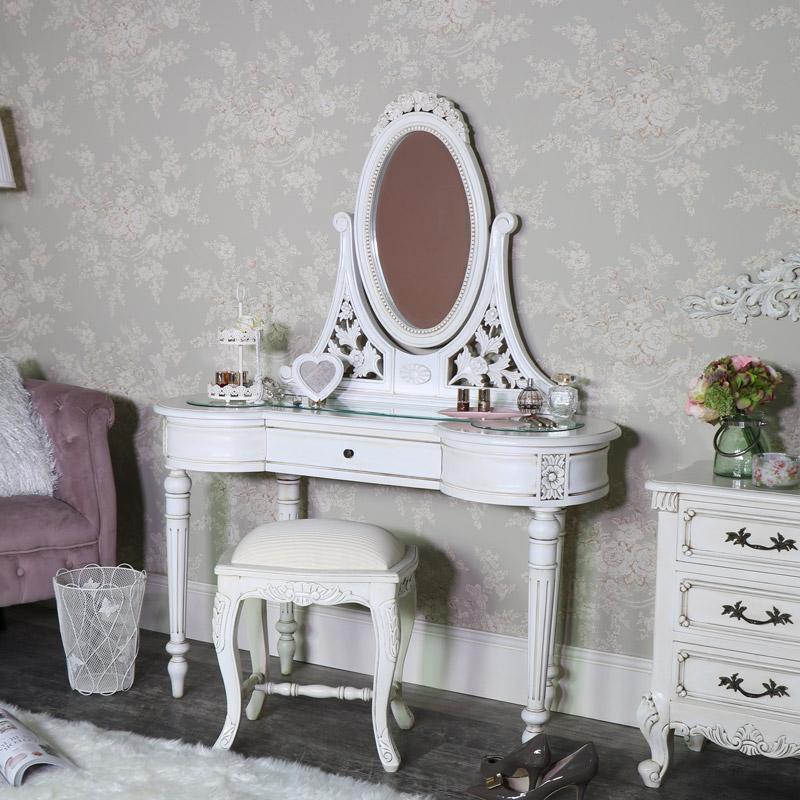 Antique Cream Vintage Dressing Table, Mirror And Stool Set   Limoges Range    Flora Furniture