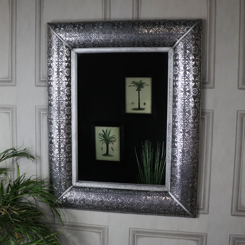Large Silver Embossed Wall Mirror - Monique Range 102cm x 80cm