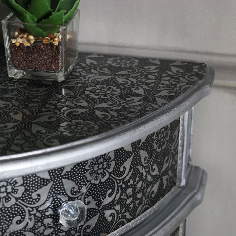 Monique Range Silver Corner Cabinet Flora Furniture