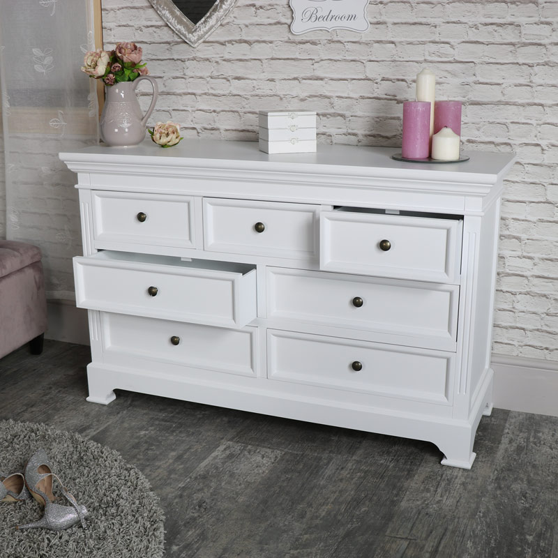 Large White 7 Drawer Chest Of Drawers Flora Furniture
