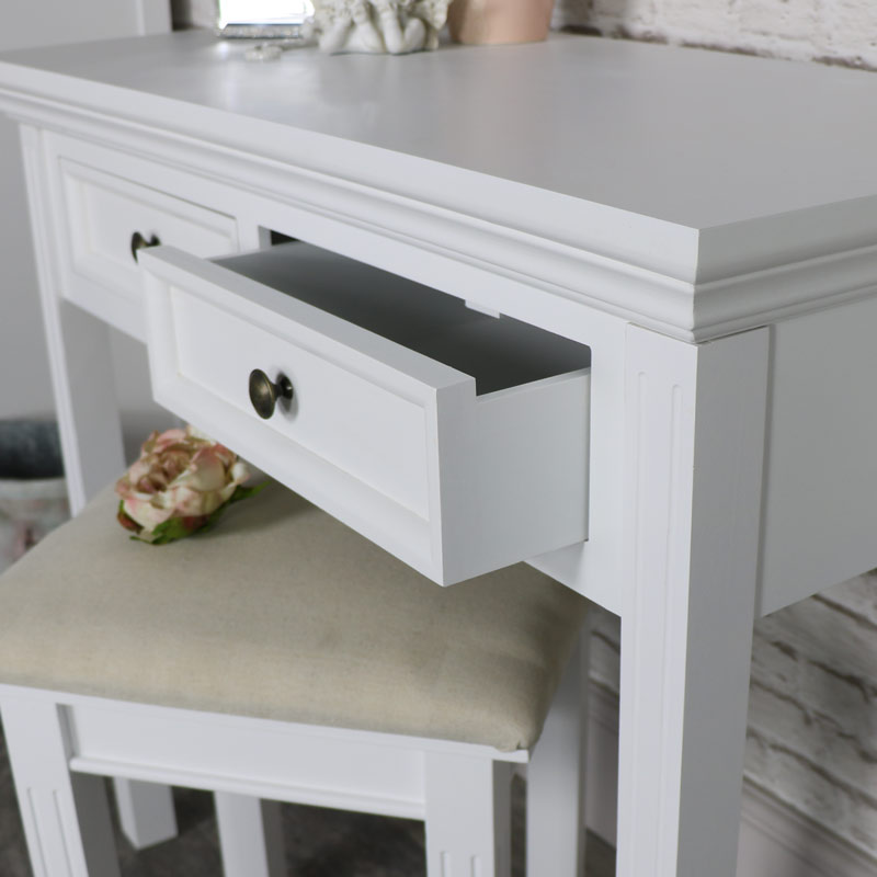 White 2 Drawer Console Dressing Table Flora Furniture