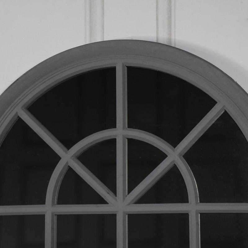 Large Vintage Grey Arched Window Mirror 69cm x 130cm