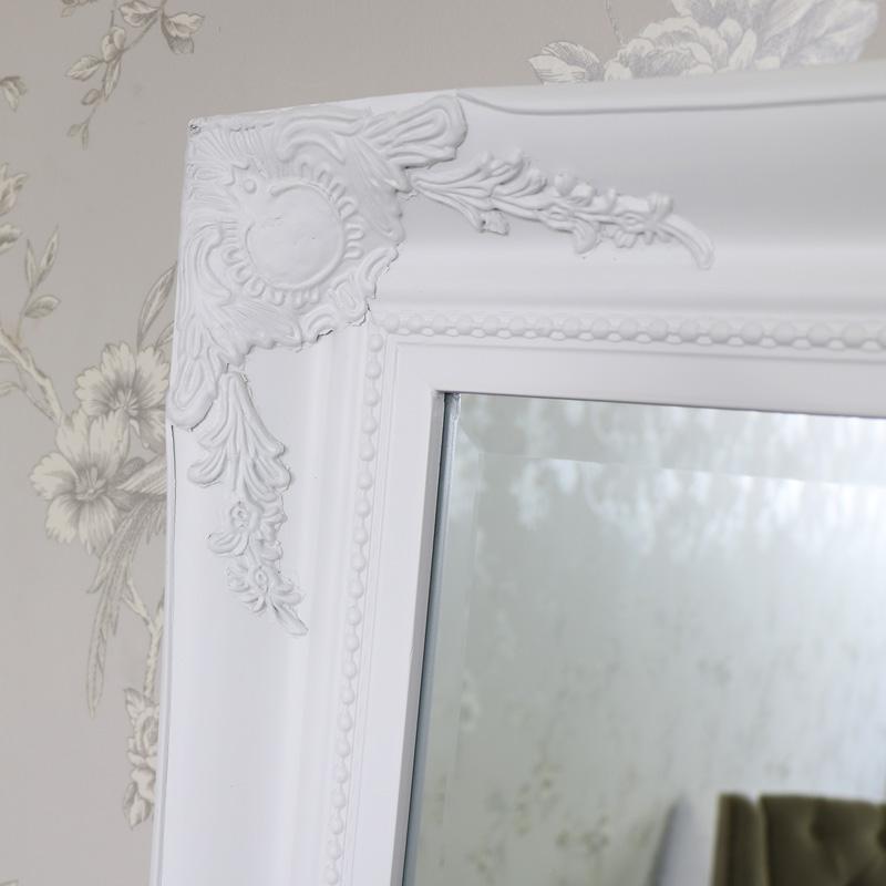 Large White Ornate Wall Mirror Flora Furniture