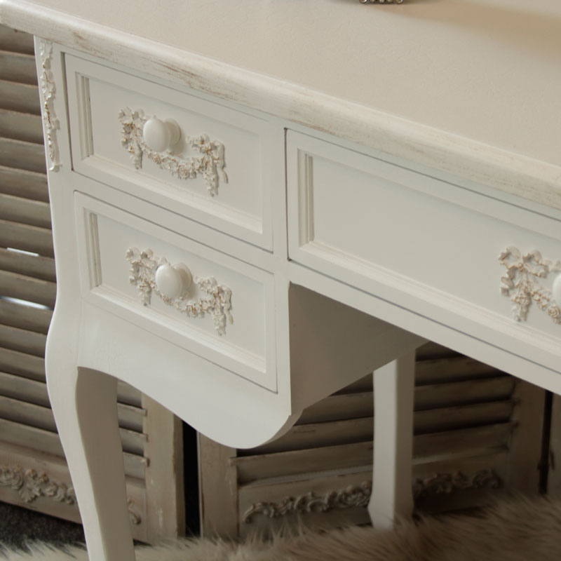 Pays Blanc Range - Antique White Large 5 Drawer Dressing Table/Writing Desk