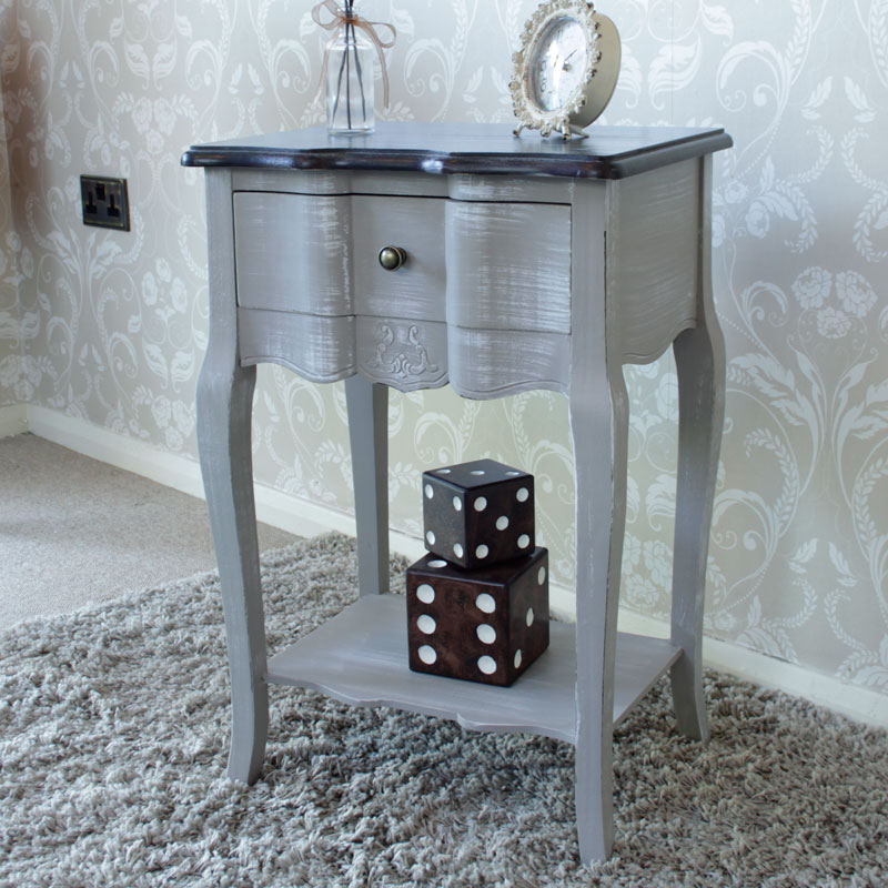 French Grey Range - Grey 1 Drawer Bedside Table