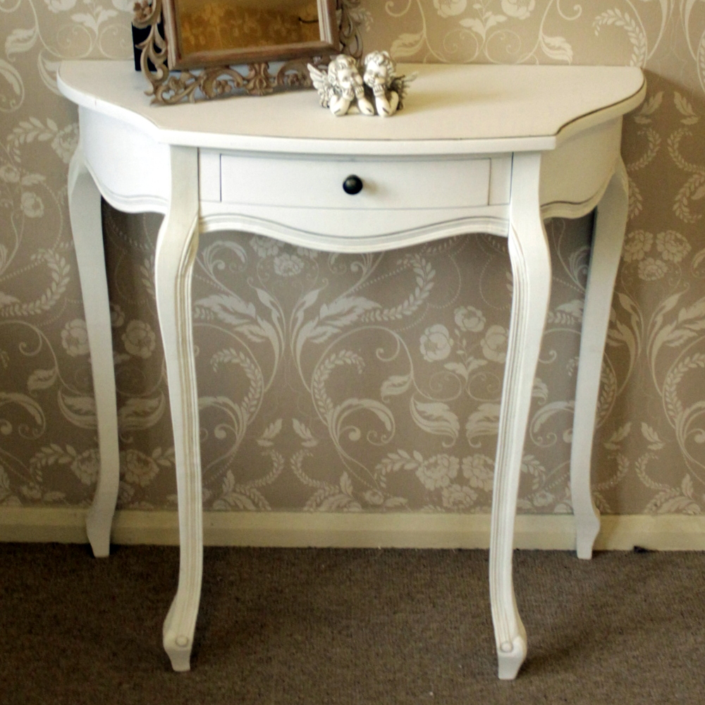 Classic White Range - Wooden White Half Moon Table