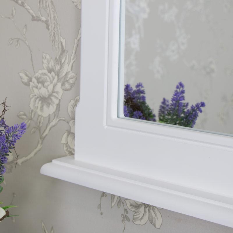 Ornate White Wall Vanity Mirror - Elise White Range