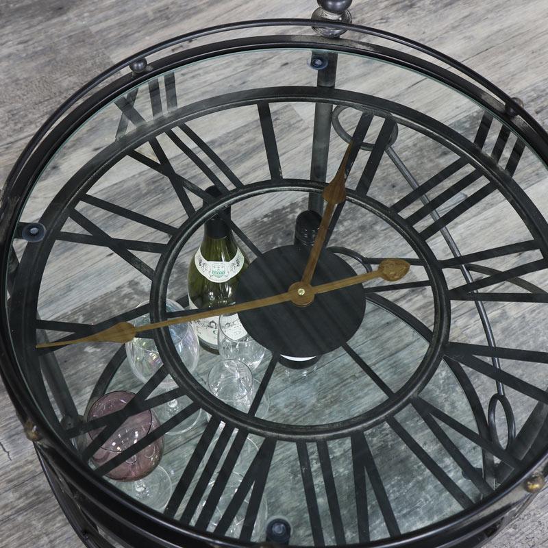 Round Ornate Black Skeleton Clock Table With Shelf