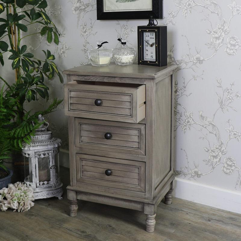 Hornsea Range- Three Drawer Bedside Table