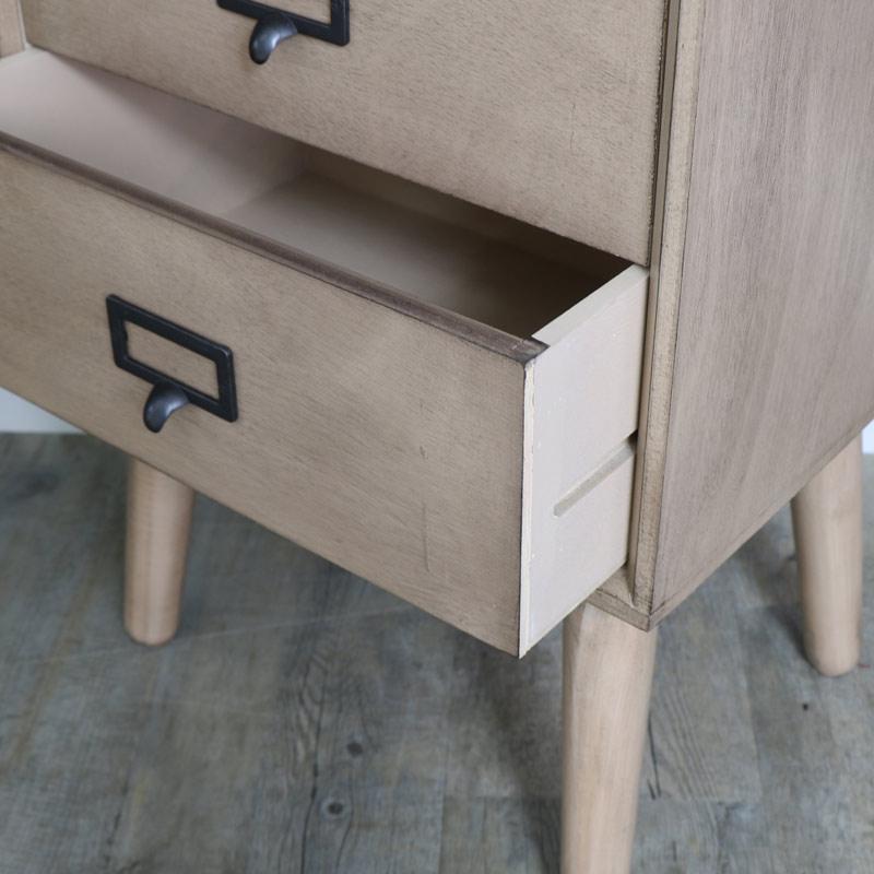 Retro Style Brown Wooden 5 Drawer Tallboy Chest of Drawers - Brixham Range