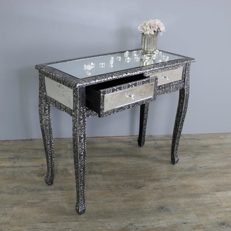 Monique range silver mirrored dressing table flora for Range dressing table