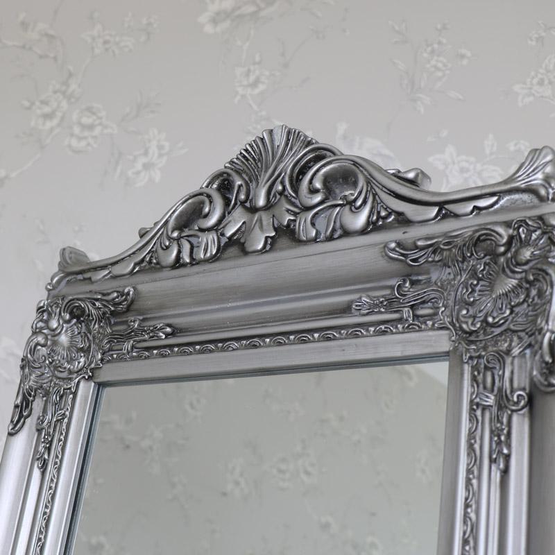 Silver Full Length Vintage Freestanding Cheval Mirror