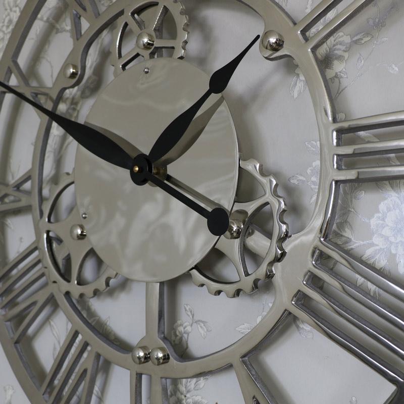 Large Silver Nickel Cog Skeleton Wall Clock Flora Furniture