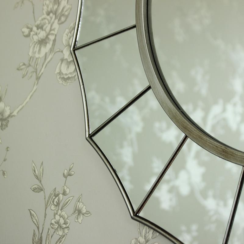 Large Silver Sunburst Art Deco Wall Mirror