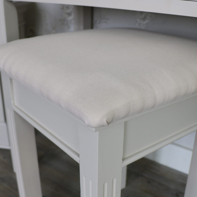 Grey Dressing Table Stool And Mirror Set Flora Furniture