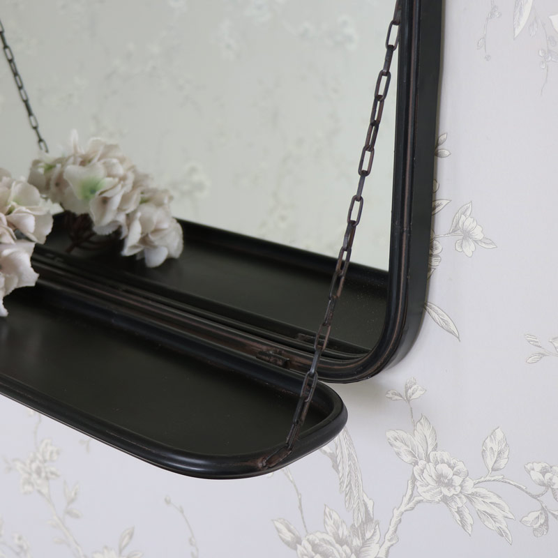 Black Metal Vanity Wall Mirror With Shelf Flora Furniture