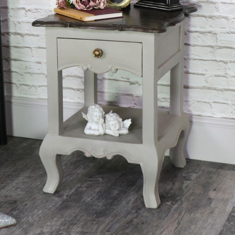 Vintage Grey Bedside Lamp Table - Leadbury Range