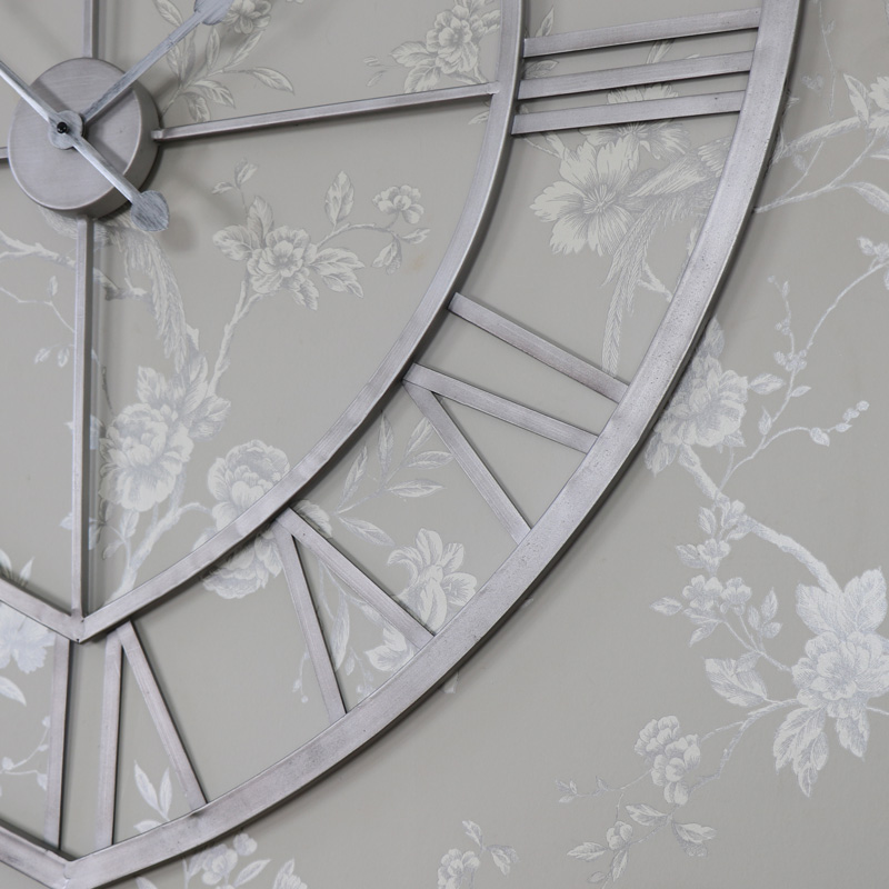Large Grey Metal Heart Shape Skeleton Wall Clock Flora Furniture