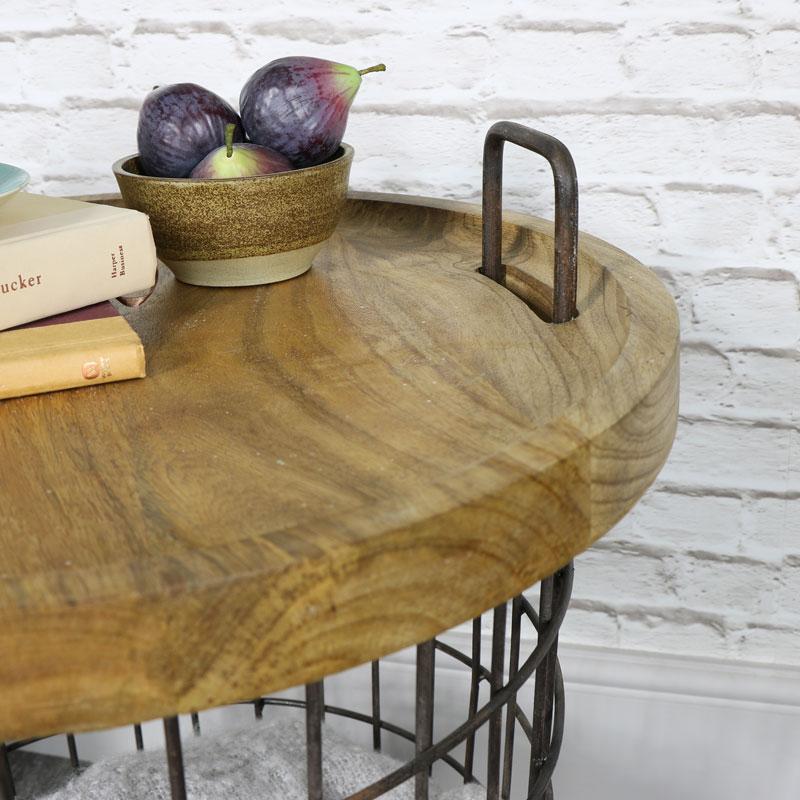 Industrial Retro Style Storage Basket Table