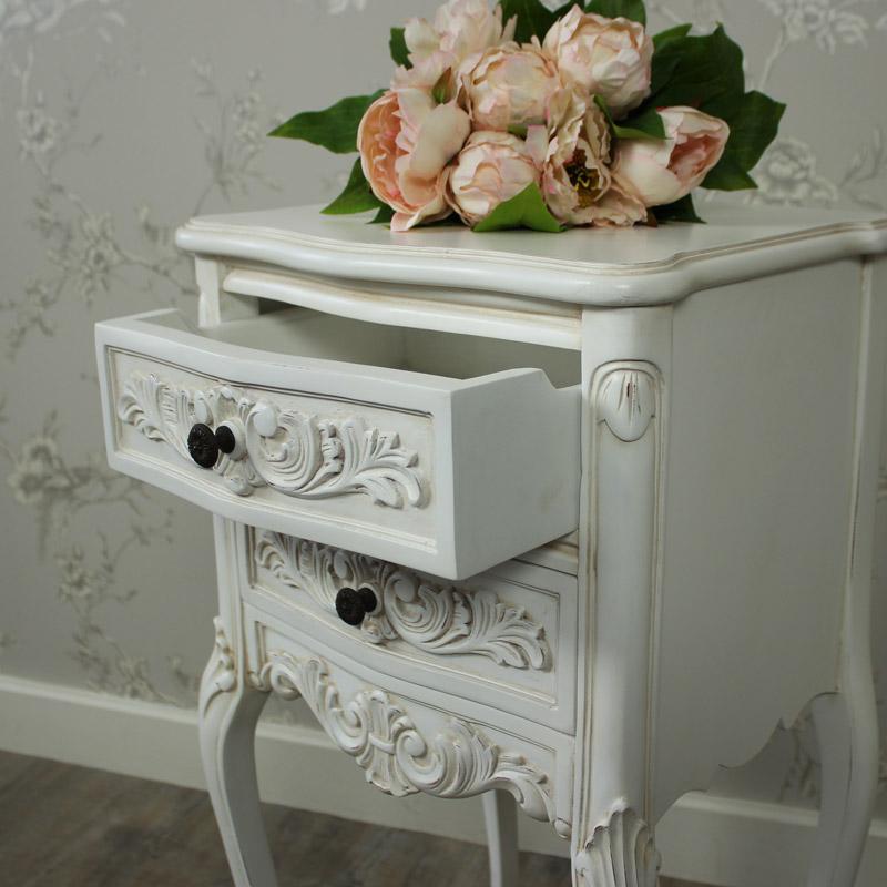 Louis XV Range - Ivory Ornate Bedside Table
