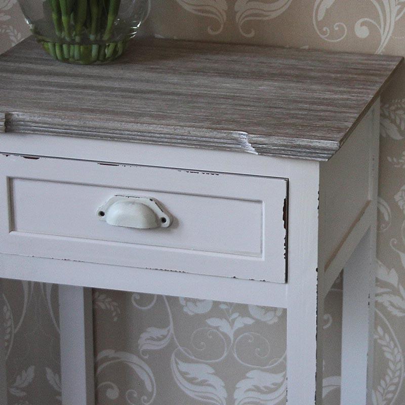 Lyon Range - Antique White 1 Drawer Bedside Table with Shelf